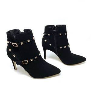Glaze Black Gold Studded Pointed Ankle Booties